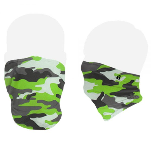 Lime camo face mask